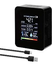 Romacci Detector portátil de CO2 Detector de qualidade do ar Detector inteligente de temperatura e umidade Sensor Tester Monitor de dióxido de carbono Detector de formaldeído TVOC Detector HCHO