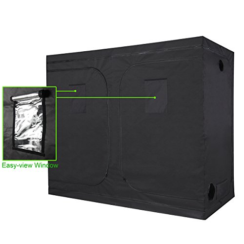 "41bmhe02iaL - IDAODAN 96""x48""x80"" Mylar Hydroponic Grow Tent with Metal Push-Lock Corners, Obeservation Window and Floor Tray for Indoor Plant Growing 4'x8'"