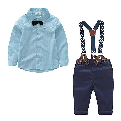 Suit Formal Set (Yilaku Baby Boy Dress Clothes Toddler Outfits Infant Tuxedo Formal Suits Set Shirt + Pants (Sky Blue, 2-3Years))