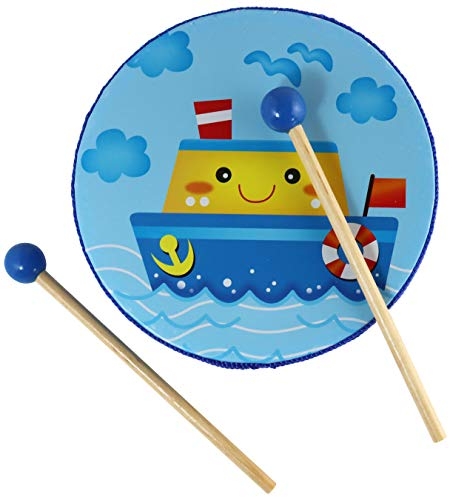 (My Blue Ship Tambourine Toy - Small Frame Drum for Children with 2 Wooden Mallets)