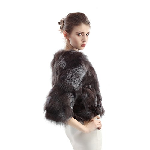 OLLEBOBO Women's Coat For Winter Genuine Fox Fur Knitted Coat without Belt Size 2XL Black by OLLEBOBO (Image #7)