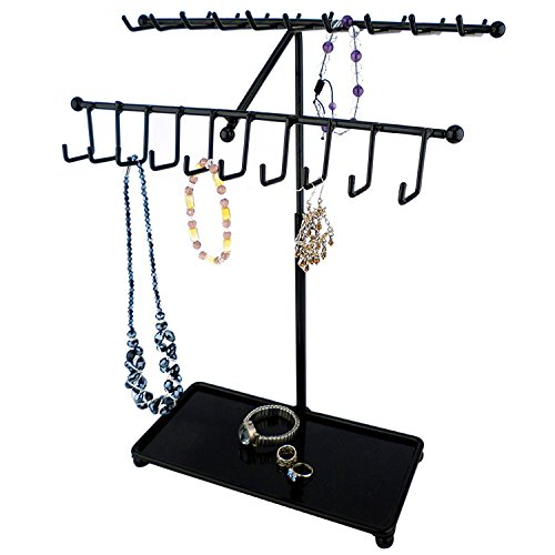 MyGift 15-inch Black Metal 30-Hook Necklace/Bracelet Jewelry Organizer Display Rack