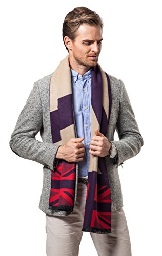Runtlly Men's Super Soft Plaid Scarf Cashmere Feel Autumn Winter Scarves