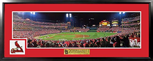 St. Louis Cardinals 2011 World Series Game 6 Panoramic Photograph (Deluxe Patch) Framed (Albert Pujols 3 Home Runs World Series)