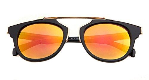 Lunettes Forme Pántos song 52 Full Frame Lentille Bat Revêtement Soleil Ronde orange nbsp;mm Noir Iridium Oath De 7B0xww