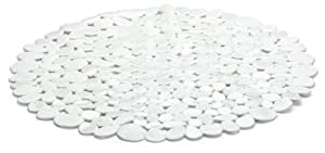 Spirella 10.09683 Riverstone - Alfombrilla de ducha antideslizante redonda (57 cm), color blanco