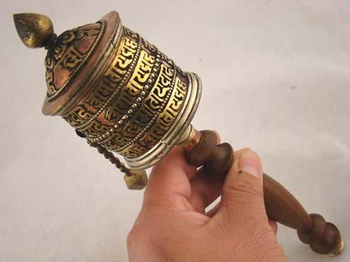Tibetan Buddhist Om Mani Handmade Copper Prayer Wheel