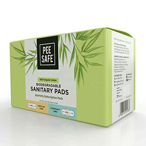 PEESAFE Organic Cotton, Biodegradable Sanitary Pads Quarterly Pack – 32 Pads (14 Regular Pads & 18 Overnight Pads)