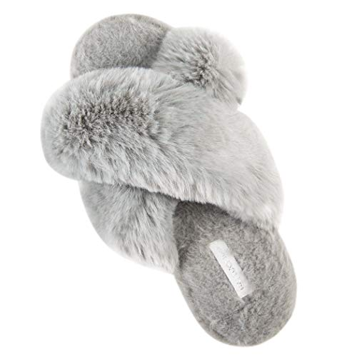 Women's Cross Band Soft Plush Fleece House/Outdoor Slippers (9-10 M US, Grey)