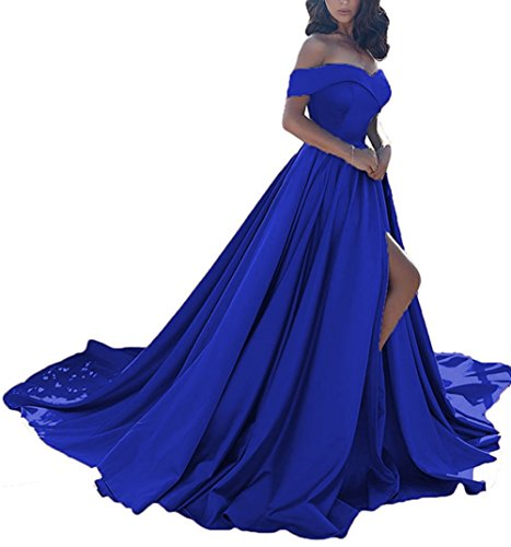 - Homdor Split Off Shoulder Prom Evening Dress for Women A-Line Satin Formal Gown