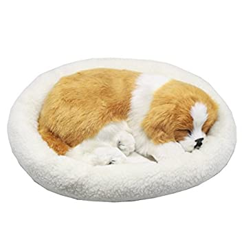 Perro cachorro que respira Peluche de juguete con cama, 26cm (Amarillo y Blanco): Amazon.es: Juguetes y juegos