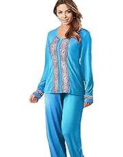 Pajama - turquoise color - cotton - women , 2725618643095