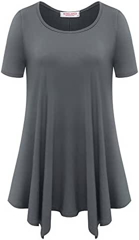 BELAROI Womens Basic Solid Loose Fit Short Sleeve Tunic T Shirt