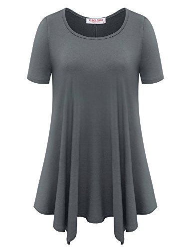 Line T-shirt Sleeve Short Inside (BELAROI Womens Basic Solid Loose Fit Short Sleeve Tunic T Shirt (L, Deep Gray))