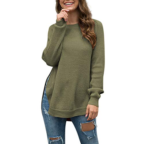 ANJUNIE Women Knitting Pullover Tops,O-Neck Solid Long Sleeve Loose Slit T-Shirt Sweater ()