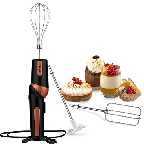 Electric Hand Mixer,Handheld Mixer Egg Beater Set w/AC, Stainless Steel Egg Whisk, BPA-Free Beater, Drink Mixer Attachment, 2 Speed Rotatable Angle Hand Blender Stick Mixer for Coffee Kitchen ()
