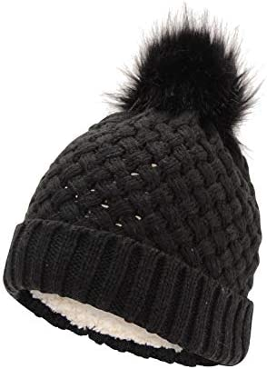 BM Ladies Paige Knitted hat with Faux Fur Pom Black