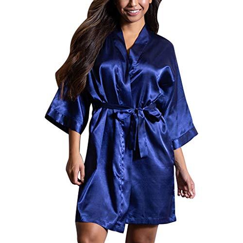 (Womens Night Gown Robe Sexy Satin Sleepwear Lingerie Nightwear Underwear Blue )