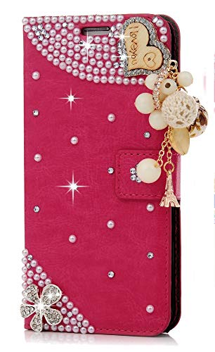 STENES Galaxy Grand Prime Case - Stylish - 3D Handmade Heart Pendant Flowers Design Magnetic Wallet Credit Card Slots Fold Stand Leather Cover for Samsung Galaxy Grand Prime G5308/G530H - Red