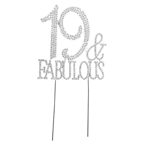 Toyvian 19 Silver Birthday Cake Topper Sparkly Crystal Cake Decoration Bling Diamond 19th Birthday Party Decoration Ideas -