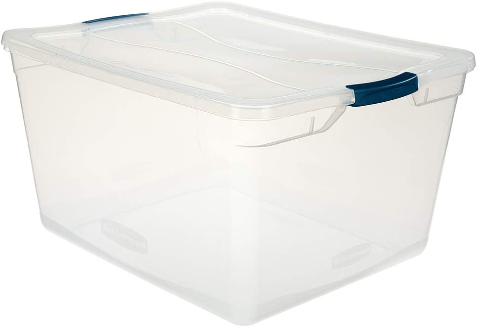 Amazon Com Rubbermaid Cleverstore Clear 71 Qt Pack Of 4 Stackable Large Storage Containers With Durable Latching Clear Lids