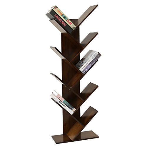 UNICOO - Bamboo 9-Shelf Tree Bookcase, Special Design Bookshelf, Display Storage Rack for CDs, Movies & Books. (Antique Brown - 9TB)