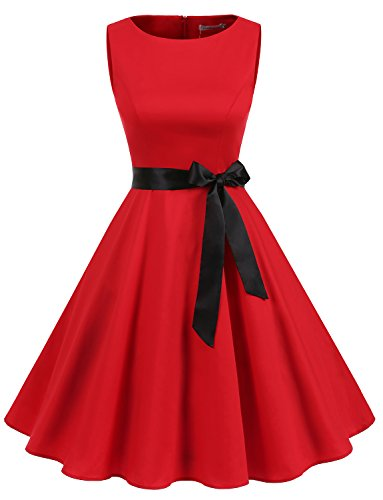 2752892262e Galleon - Gardenwed Women s Audrey Hepburn Rockabilly Vintage Dress 1950s  Retro Cocktail Swing Party Dress Red M