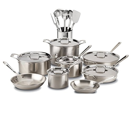 All-Clad D5 Brushed Stainless Steel 5-Ply Bonded Dishwasher Safe Cookware Set, 20-Piece, Silver