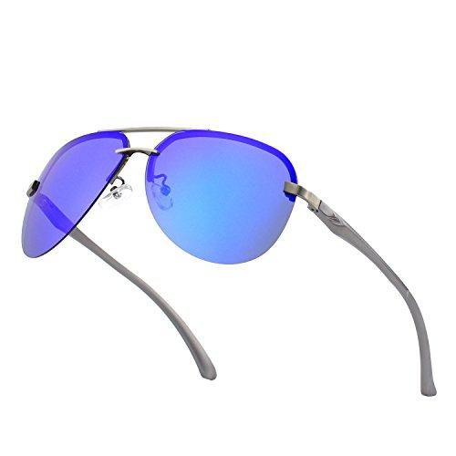 avec soleil femmes CGID polarisées en et Lunettes UV400 hommes de ressort charnières de Bleu Lunettes Marron alliage Al réfléchissantes GA61 Mg Pilot 43 soleil premium à pour rgwqrta