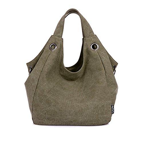 Good Bag Women's Shoulder Handbag Durable Canvas Purse Vintage Style Purse Color Army Green