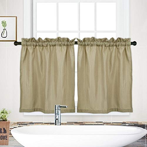 NANAN Tier Curtains,Waffle Woven Textured Short Curtains for Bathroom Waterproof Window Covering for Kitchen - 30