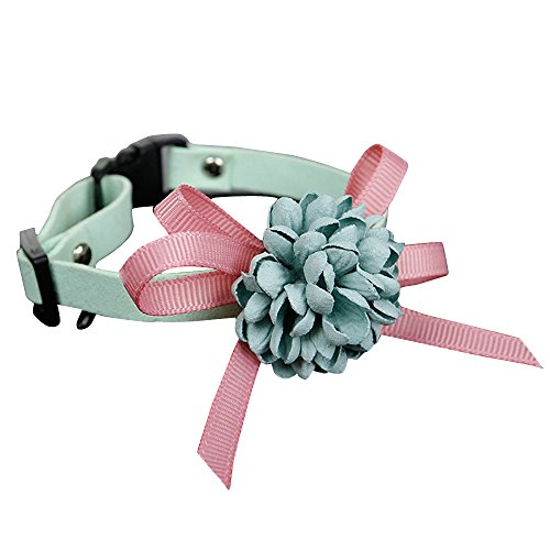 og Puppy Pet Collars Necklace Woven Fabric Hand Tied Bow Collar For Kitten Small Dog Pet Cat Necklace Pet Memorial Cat Dog Charms Cat Pet Jewelry Pig Sweet Collars (Green, 15-22cm) ()