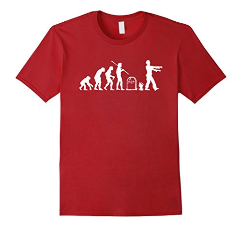 Mens Zombie Evolution Funny Zombie T-Shirts XL Cranberry