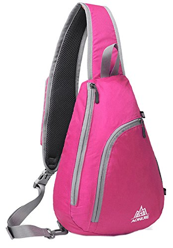 Triangle Pewter Stand (Veenajo Sling Chest Shoulder Backpacks Bags CrossBody Triangle Packs Rucksack Multipurpose Sport Daypack for Cycling Walking Dog Hiking (Rose))