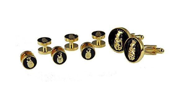 The Quiet Witness 4031849 Pair of Jester Cuff Links and Set of 6 Shirt Studs Tuxedo Formal Dress Roj Royal Order Jesters Biliken Mirth is KingBilliken