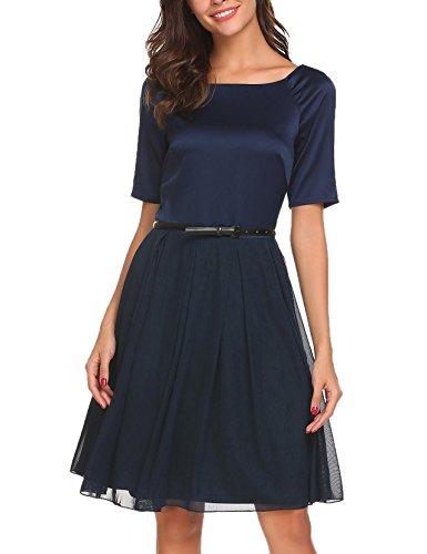 ACEVOG Damen 50s Vintage Kleid Elegant Knielang Tülle Cocktailkleid  Schwingen Abendkleid Partyleider Rockabilly Kleid Navy Blau 129986f8e4