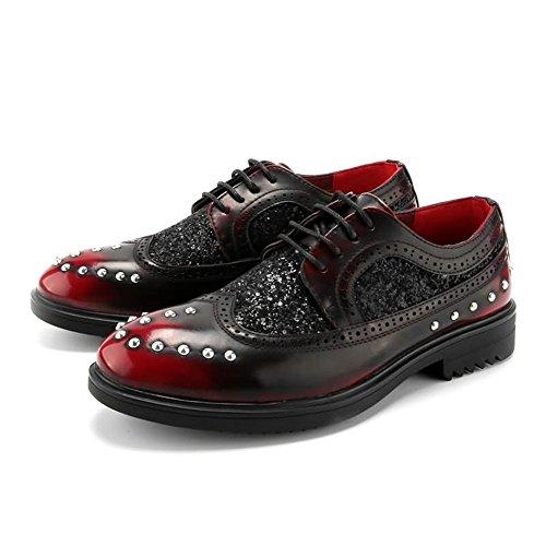 Colore tacco da shoes piatto pelle Pelle da 42 uomo EU Dimensione Uomo oxford Jiuyue Color stringate uomo in Rosso Scarpe con PU Scarpe Rosso Scarpe 2018 x0qxwdO8z