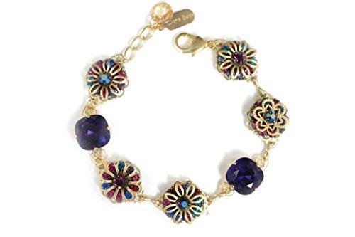 (Clara Beau Royal Purple Swarovski Multicolor crystal Floral Filigree Bracelet BF52)