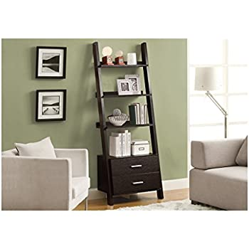 "Monarch Specialties I 2542, Bookcase, Ladder with 2-Storage Drawers, Cappuccino, 69""H"