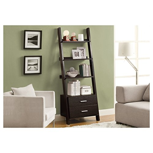 Monarch Specialties I 2542, Bookcase, Ladder with 2-Storage Drawers, Cappuccino, 69''H by Monarch Specialties