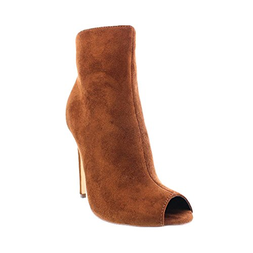 Liliana Mocka Peep Toe Stilett Hög Klack Pump Barbara10 Tan