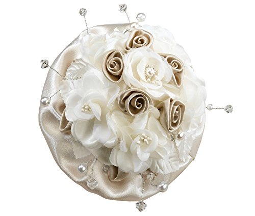 Lillian Rose Taupe Pearl Faux Rose Bouquet ()