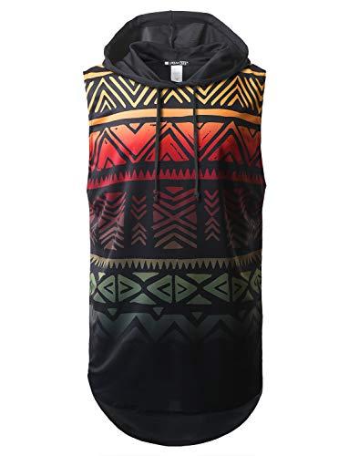 URBANCREWS Mens Hipster Hip Hop Aztec Printed Longline Hooded Muscle Tank Top, L (Hooded Top Tank)