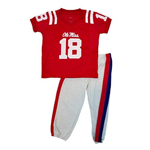 Small Uniform University Set - Fast Asleep Youth Boys University of Mississippi Ole Miss Rebels Football Uniform Pajamas Set, 6T, Red