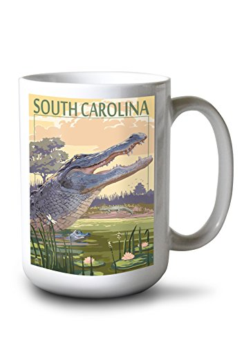 Lantern Press South Carolina - Alligator Scene (15oz White Ceramic Mug)