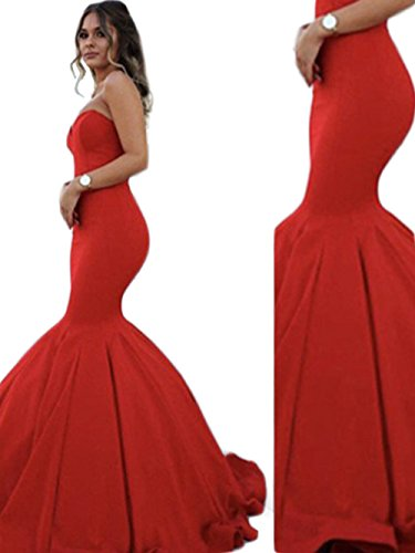 Mathena Women's Strapless Sweetheart Ruffled Mermaid Prom Party Homecoming Dress US 4 Red