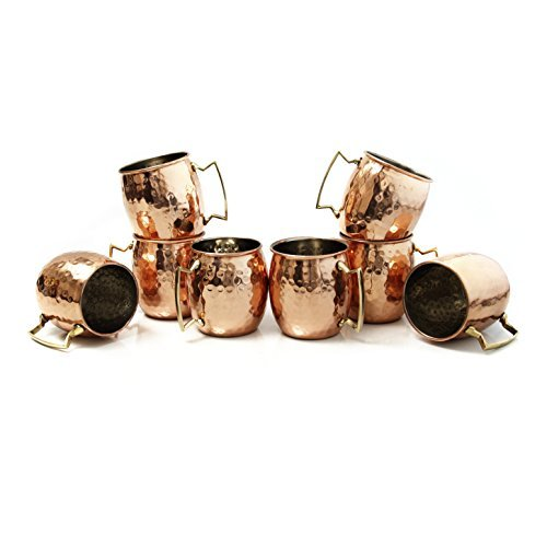 Moscow Mule Hammered Copper 18 Ounce Drinking Mug, Set of 8