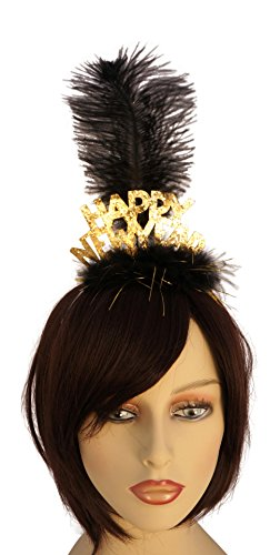 [Happy New Year Headband with Feathers Party Accessory (Gold)] (New Year Costumes)