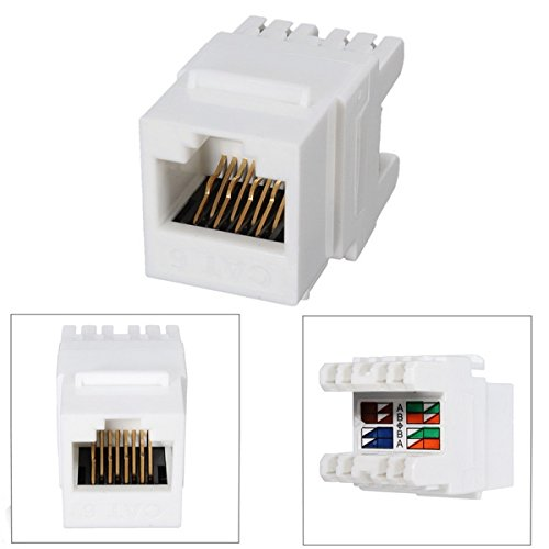 White Cat 6 RJ45 8P8C Punchdown Keystone Modular Ethernet Snap-in (Leviton Cat5 Patch Cord)