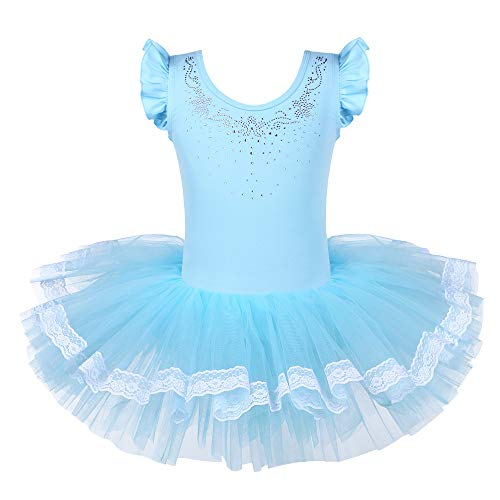 BAOHULU Leotards for Girls Ballet Dance Tutu Skirted Princess Dress 3-8 Years (Jeweled Blue, 6-7 Years) -